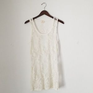 Pins and needles white lace sheer dress